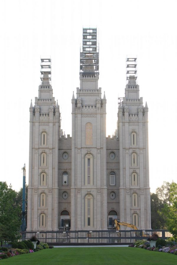 The Salt Lake Temple of the Church of Jesus Christ of Latter-day Saints, photographed on Aug. 28, 2020. (The Daily Utah Chronicle | Gwen Christopherson)