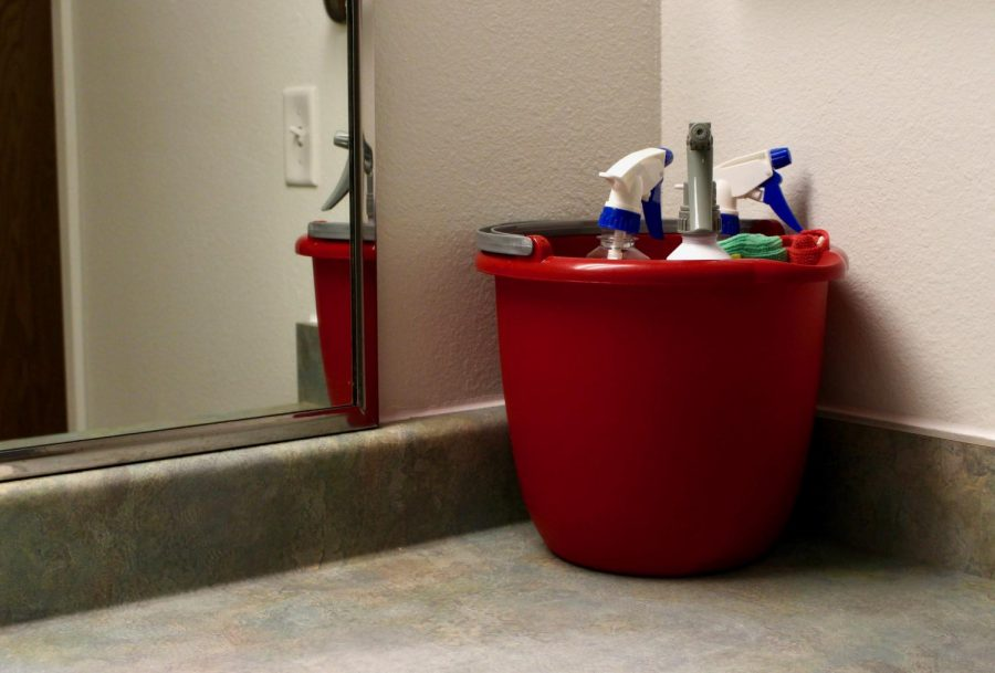 Isolation rooms are equipped with various cleaning supplies in an effort to prevent the spread of COVID-19 through surfaces at the University of Utah on September 2nd 2020. (Photo by Gwen Christopherson | The Daily Utah Chronicle)