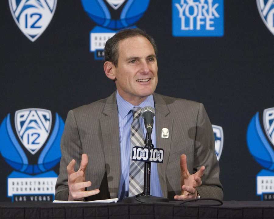 Pac-12 conference comissioner Larry Scott, Friday, March 11, 2016. (Mike Sheehan, Daily Utah Chronicle)