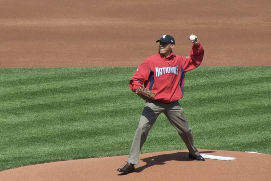 Barack Obama Throws First Pitch 2010 Washington Nationals Opening day game. (Image via WikiMedia Commons)
