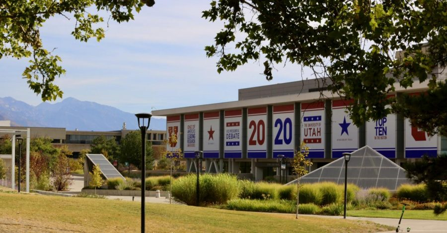 Advertisement+for+the+2020+Vice+Presidential+Debate+on+the+Marriott+Library+at+the+University+of+Utah+campus+in+Salt+Lake+City+on+September+28th+2020.+%28Photo+by+Camille+Rousculp+%7C+The+Daily+Utah+Chronicle%29