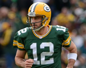 Green Bay Packers quarterback, Aaron Rodgers, playing against the Carolina Panthers on October 19, 2014. (Image via Wikimedia Commons)