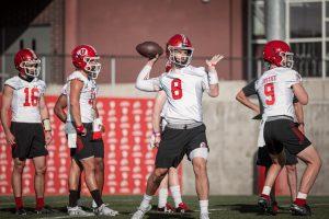 Quarterback Jake Bentley at practice. Image via Utah Athletics