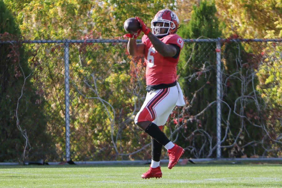 Utah running back Devin Brumfield at practice. (Image courtesy Utah Athletics)