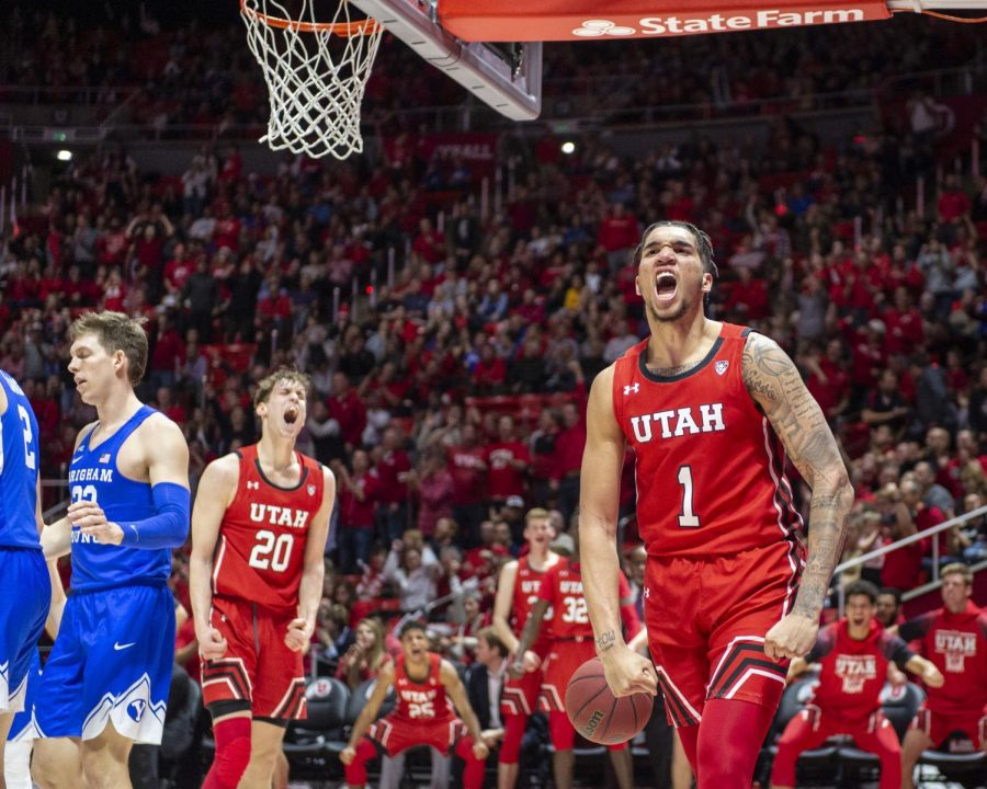 University of Utah sophomore forward Timmy Allen (1) celebrates after drawing a foul and making a basket during an NCAA Basketball game vs. Brigham Young University at the Jon M. Huntsman Center in Salt Lake City, Utah on Wednesday, Dec. 4, 2019. (Photo by Kiffer Creveling | The Daily Utah Chronicle)