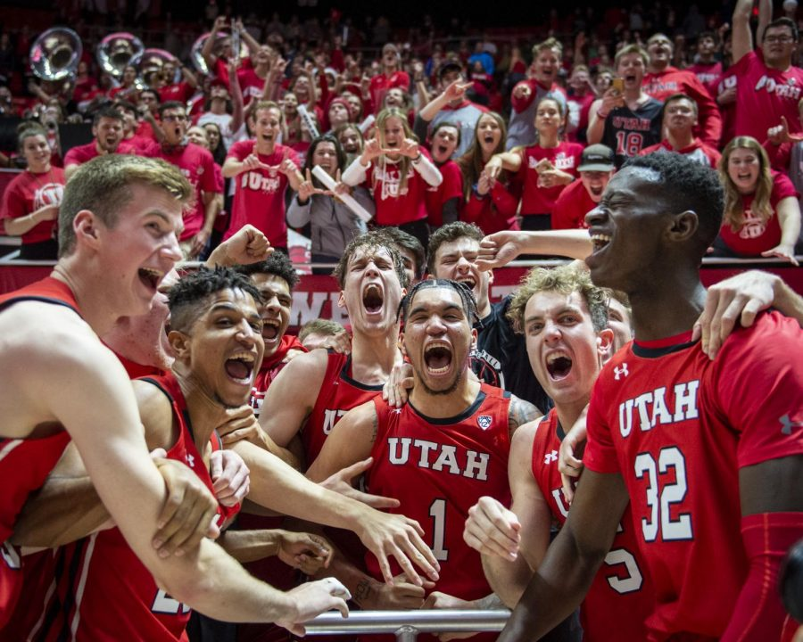 The University of Utah celebrates after beating Brigham Young University an NCAA Basketball game at the Jon M. Huntsman Center in Salt Lake City, Utah on Wednesday, Dec. 4, 2019. (Photo by Kiffer Creveling | The Daily Utah Chronicle)
