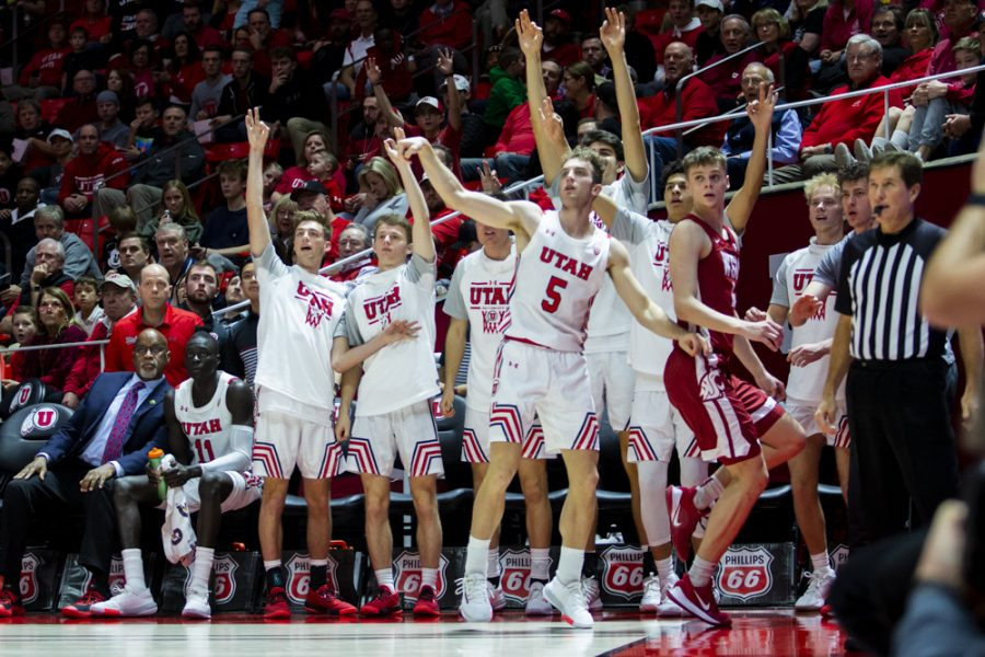 The+University+of+Utah+Men%27s+Basketball+Team%27s+bench+celebrates+after+University+of+Utah+freshman+guard+Jaxon+Brenchley+%285%29+drills+a+three+point+shot+in+an+NCAA+Men%27s+Basketball+game+vs.+Washington+State+at+Jon+M.+Huntsman+Center+in+Salt+Lake+City%2C+UT+on+Saturday+January+25%2C+2020.%0A%0A%28Photo+by+Curtis+Lin+%7C+Daily+Utah+Chronicle%29