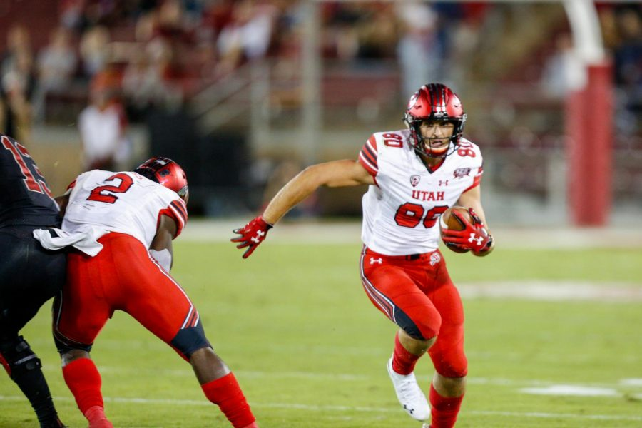University of Utah freshman tight end Brant Kuithe (80) ran after catching the ball during an NCAA Football game vs. Stanford Cardinal at Stanford Stadium in Palo Alto, CA on Saturday, Oct. 6, 2018.(Photo by Curtis Lin | Daily Utah Chronicle)