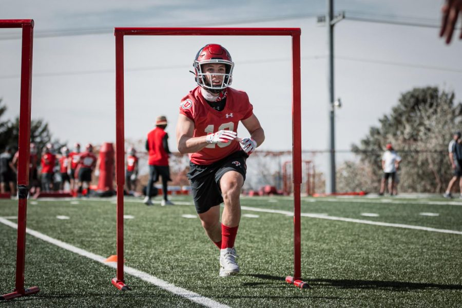Utah WR Britain Covey at Utah Football Practice. Photo courtesy Utah Athletics
