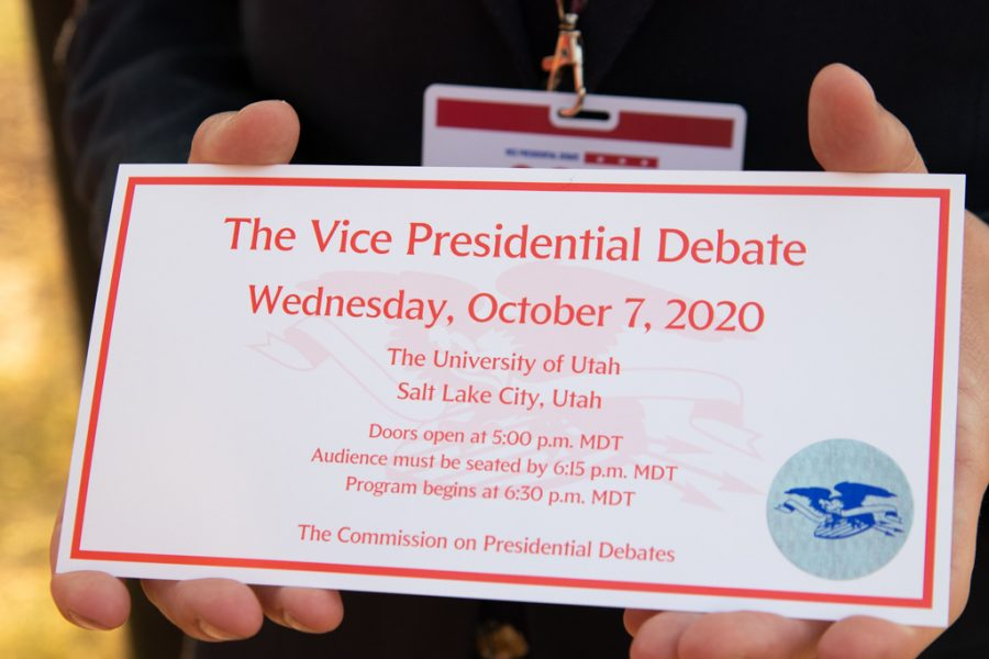 A+ticket+to+the+vice+presidential+debate+on+Oct.+7%2C+2020+in+Kingsbury+Hall+in+Salt+Lake+City.