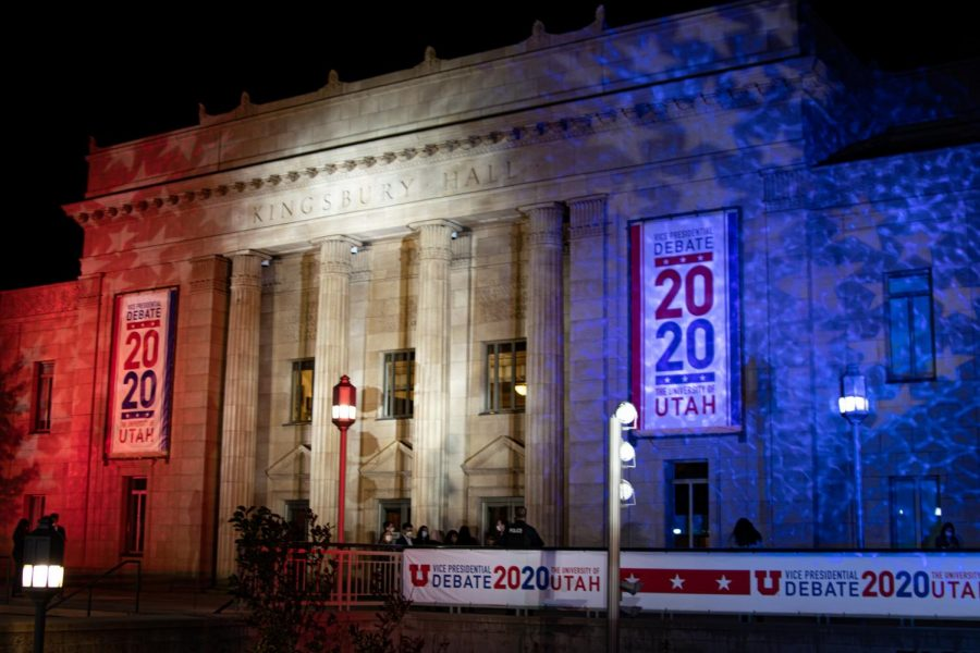 The vice presidential debate on Oct. 7, 2020 at Kingsbury Hall in Salt Lake City. (Photo by Natalie Colby | Daily Utah Chronicle.)