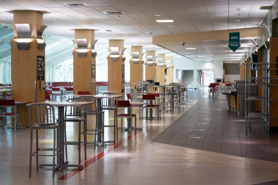 The A. Ray Olpin Union's food court sits empty on September 21st 2020. (Photo by Jack Gambassi | The Daily Utah Chronicle)