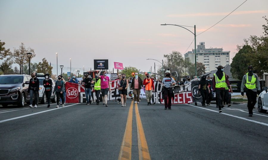 Protesters marching in Salt Lake City on Oct. 7, 2020. (Jack Gambassi | Daily Utah Chronicle)