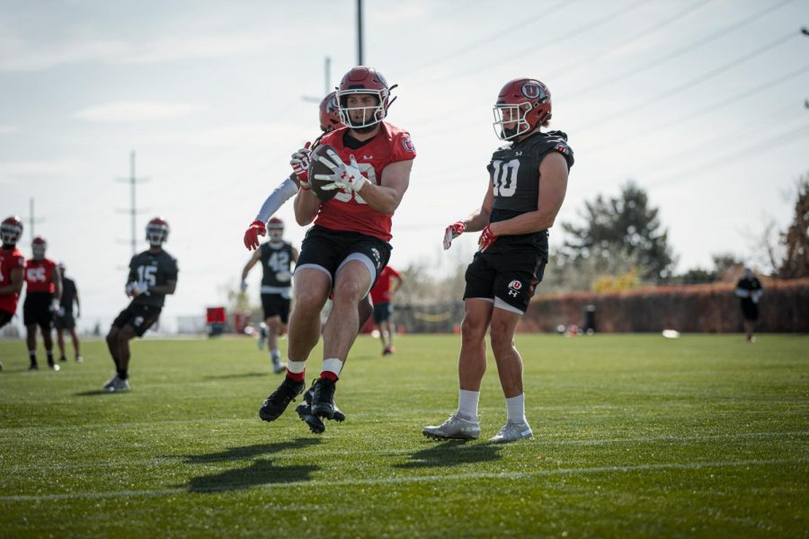 Brant Kuithe at Utah football practice. (Image courtesy Utah Athletics)