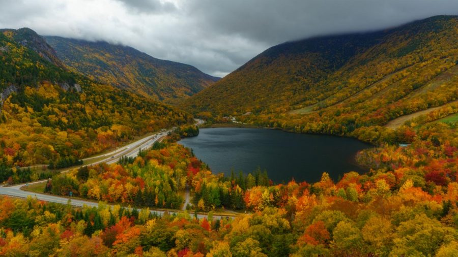 The Echo Lake in the Franconia Notch State Park in New Hampshire is a beautiful location surrounded by stunning forests that get vibrant fall colors each year; photographed from the Artists Bluff Trail in Oct. 2020 (Photo by Abu Asib | The Daily Utah Chronicle)