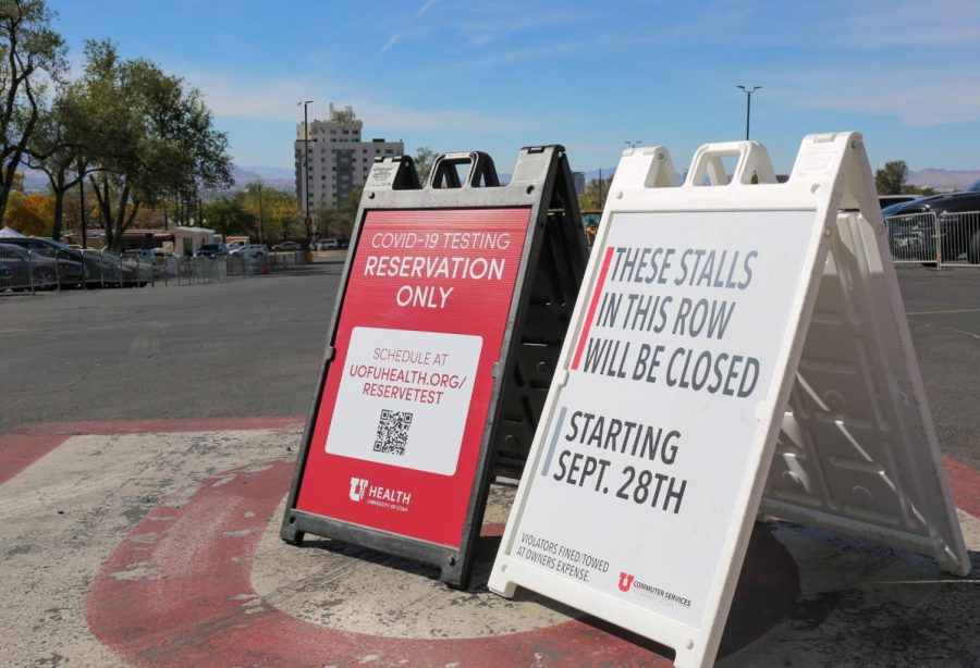Signs in front of the Rice Eccles COVID-19 testing station at the University of Utah in Salt Lake City. (Photo by Tom Denton | Daily Utah Chronicle)