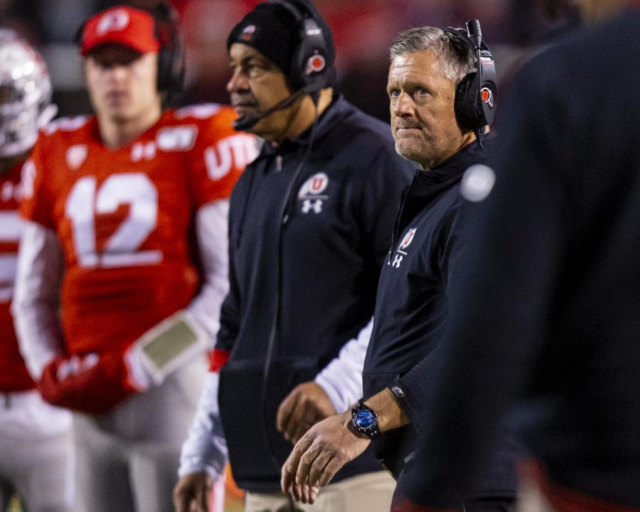 University of Utah football head coach Kyle Whittingham during a timeout in an NCAA Football game vs. UCLA at Rice-Eccles Stadium in Salt Lake City, UT on Saturday November 16, 2019.(Photo by Curtis Lin | Daily Utah Chronicle)