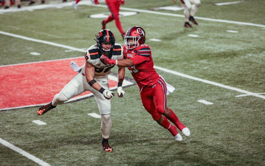 Utah Utes played Oregon State Beavers on December 5, 2020 at the Rice Eccles Stadium in Salt Lake City. Utah won with 30-24. (Photo by Ivana Martinez | Daily Utah Chronicle)
