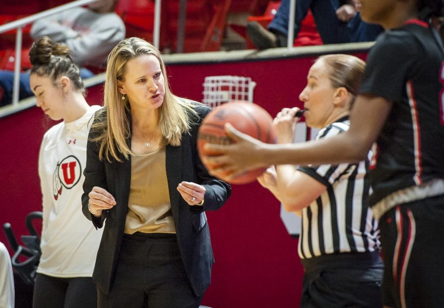 Utah Utes head coach Lynne Roberts argues with the ref after Utah Utes forward Emily Potter (12) fouls out in the second half as the University of Utah Lady Utes take on the UNLV Runin Rebels at the Huntsman Center in Salt Lake City, UT on Thursday, March 15, 2018.(Photo by Adam Fondren | Daily Utah Chronicle)