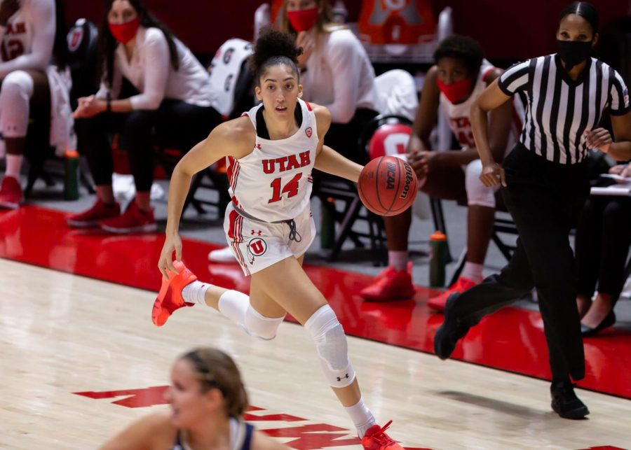 University of Utah womens basketball player, NIYAH BECKER (#14), advances the ball down the court in the game against Montana State University on Dec. 11, 2020 in the Jon M. Huntsman Center in Salt Lake City. (Photo by Jack Gambassi | The Daily Utah Chronicle)