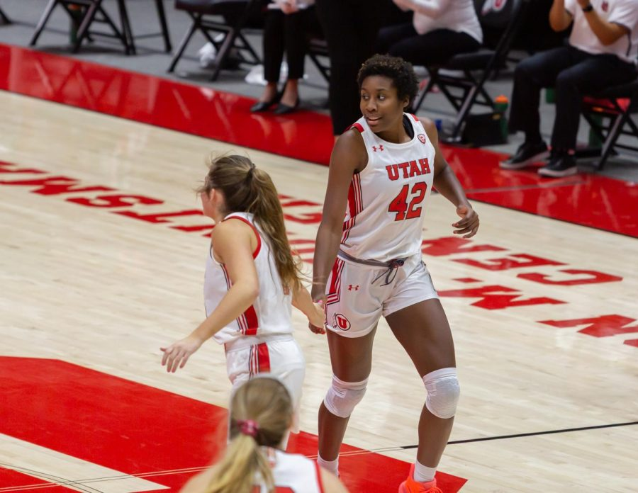 University of Utah women's basketball player, PEYTON MCFARLAND (#42), celebrates a field goal with her teammate in the game against Montana State University on Dec. 11, 2020 in the Jon M. Huntsman Center in Salt Lake City. (Photo by Jack Gambassi | The Daily Utah Chronicle)