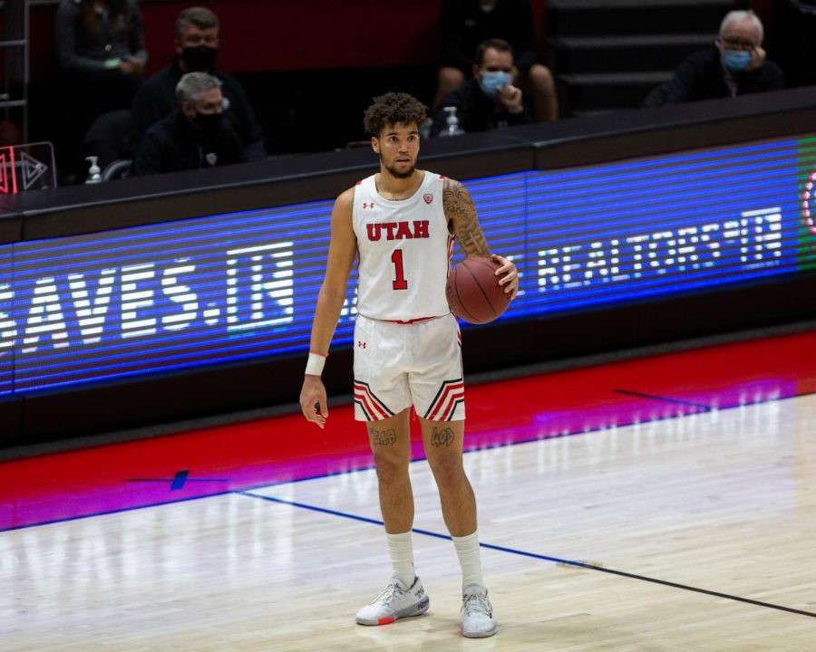 University+of+Utah+mens+basketball+player%2C+Timmy+Allen+%28%231%29+dribbles+the+ball+in+the+Utes+win+against+Utah+Valley+on+Dec.+15%2C+2020+in+the+Jon+M.+Huntsman+Center+in+Salt+Lake+City.+%28Photo+by+Jack+Gambassi+%7C+The+Daily+Utah+Chronicle%29