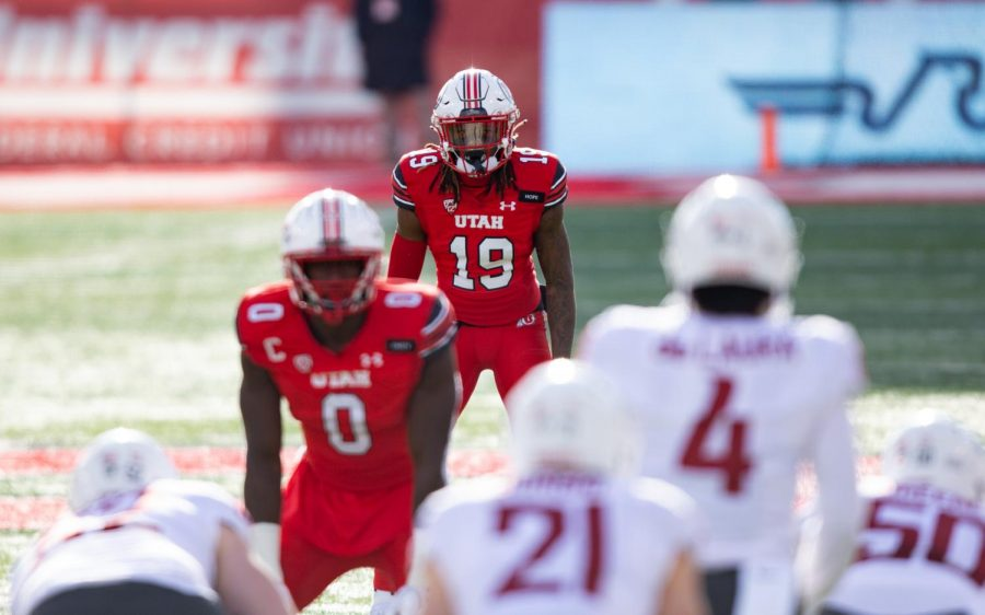 University of Utah Football player Vonte Davis (S, #19) in position in the Utes' comeback win against Washington State University on Dec. 18, 2020 in Rice-Eccles Stadium in Salt Lake City. (Photo by Jack Gambassi | The Daily Utah Chronicle)