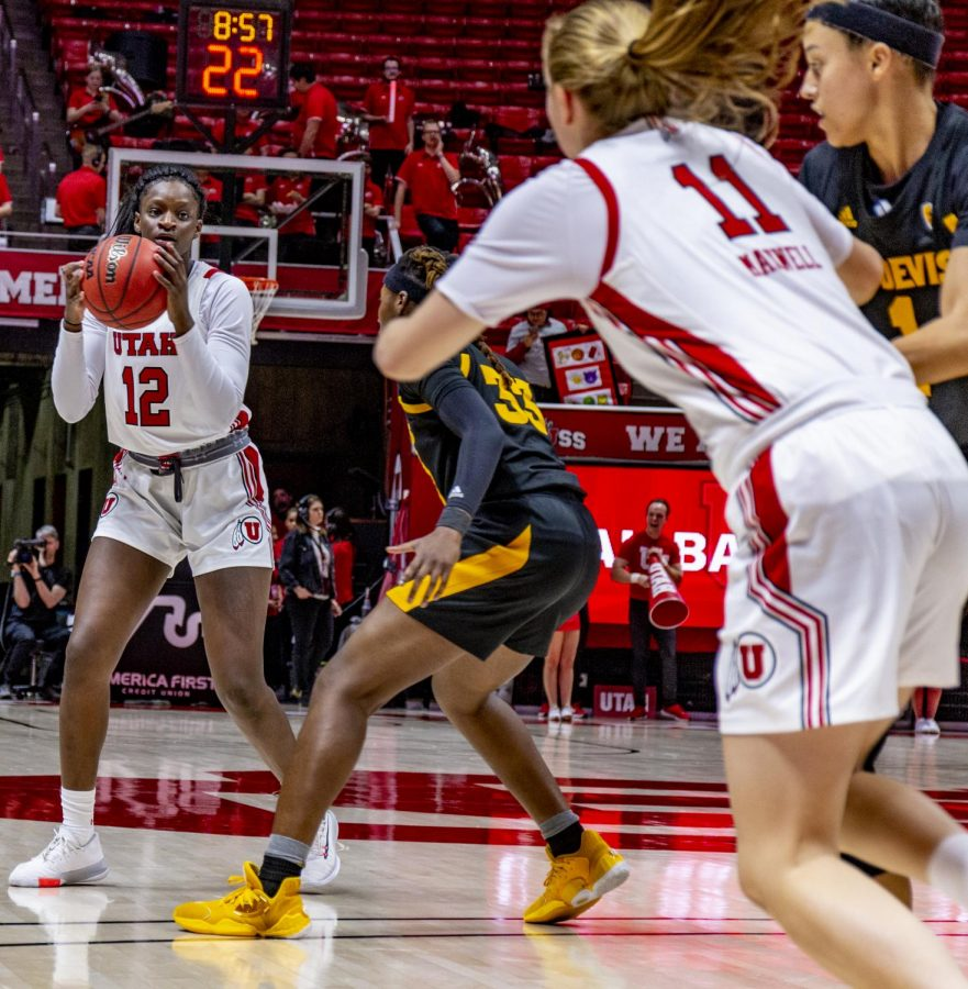 University of Utah freshman forward Lola Pendande (12) during game against the Arizona State University's Sun Devils at the Huntsman Center in Salt Lake City, Utah on Sunday, Feburary 22, 2020. (Photo by Kenny Taboada | The Daily Utah Chronicle)