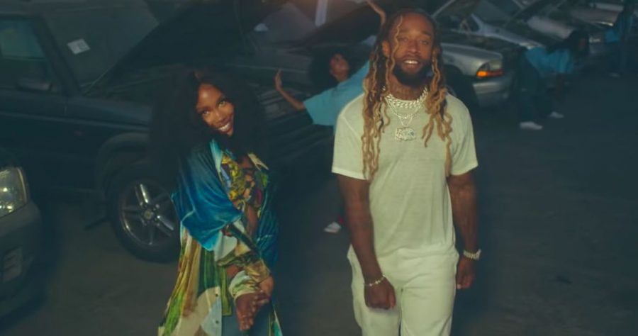 SZA and Ty Dolla $ign on set for the