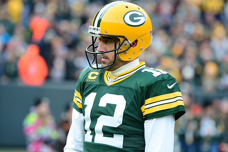 Green Bay Packers quarterback, Aaron Rodgers, in a game against the Washington Redskins on December 8, 2019. (image via WikiMedia Commons)