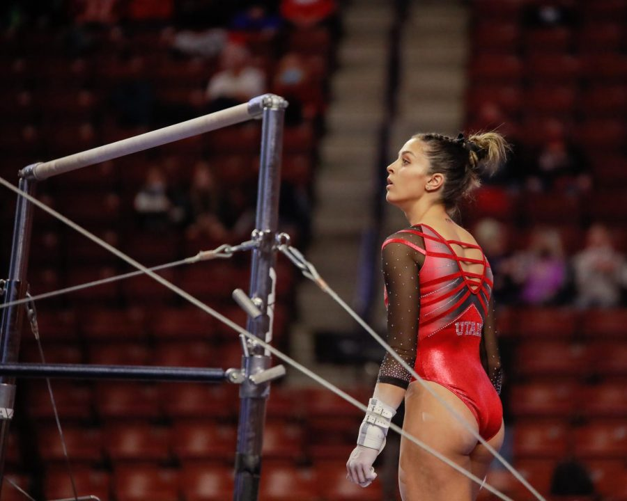 The Utah Red Rocks gymnast and University of Utah senior Emilie LaBlanc eyes on the bars before her performance during the Best of Utah NCAA Gymnasitics Meet at Maverick Center, West Valley City on 09 Jan 2021. (Photo by Abu Asib | The Daily Utah Chronicle)
