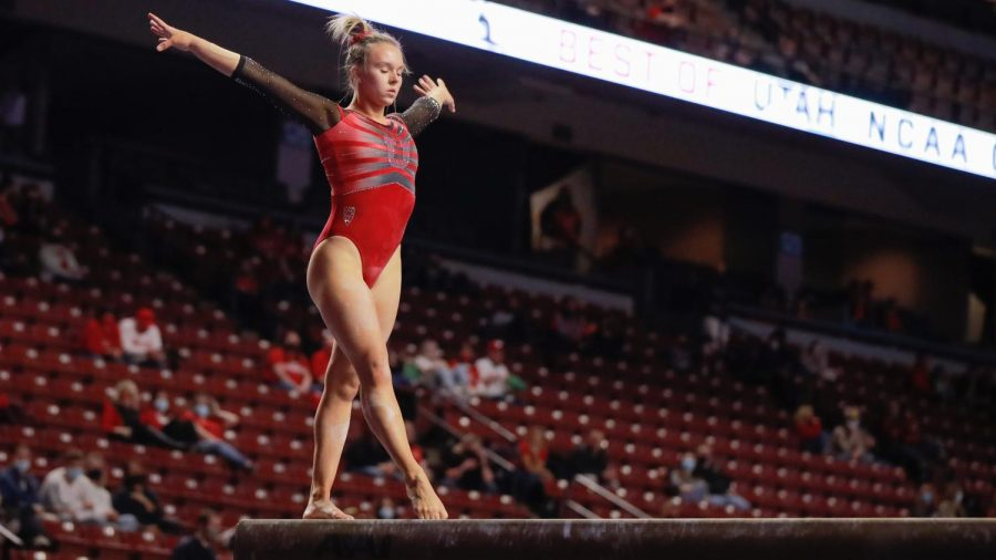 The Utah Red Rocks gymnast and University of Utah sophomore Maile O'Keefe performs on the beam during the Best of Utah NCAA Gymnasitics Meet at Maverick Center, West Valley City on 09 Jan 2021. (Photo by Abu Asib | The Daily Utah Chronicle)