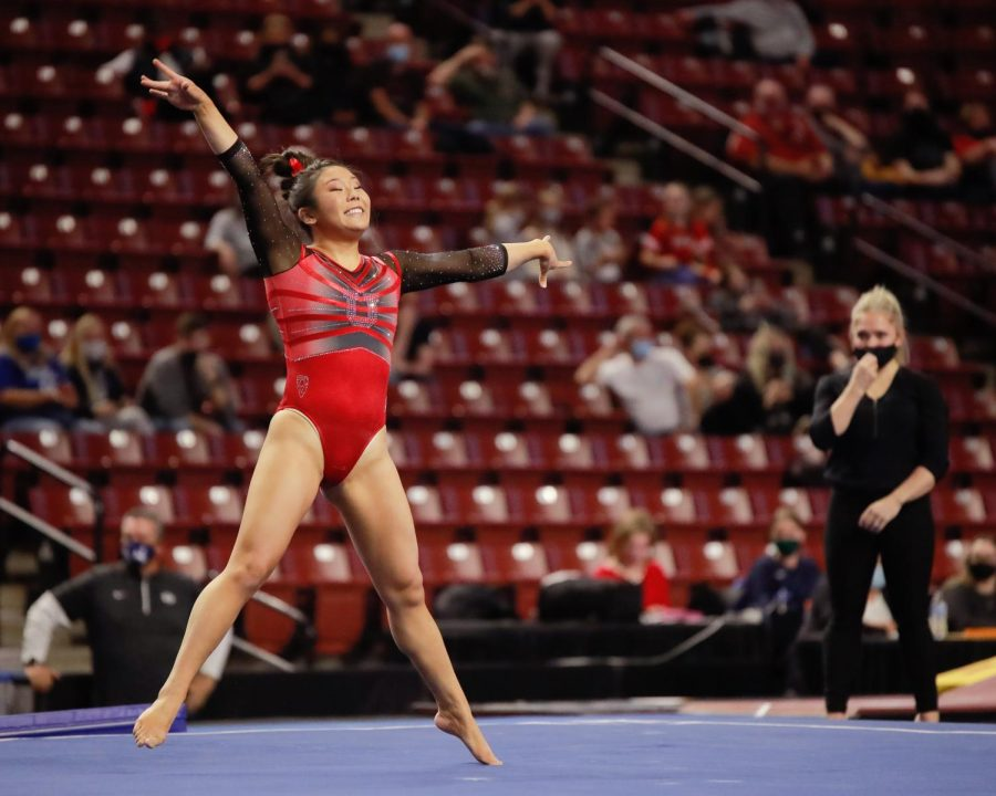 The Utah Red Rocks gymnast and University of Utah junior Cristal Isa performs on the floor during the Best of Utah NCAA Gymnasitics Meet at Maverick Center, West Valley City on 09 Jan 2021. (Photo by Abu Asib | The Daily Utah Chronicle)