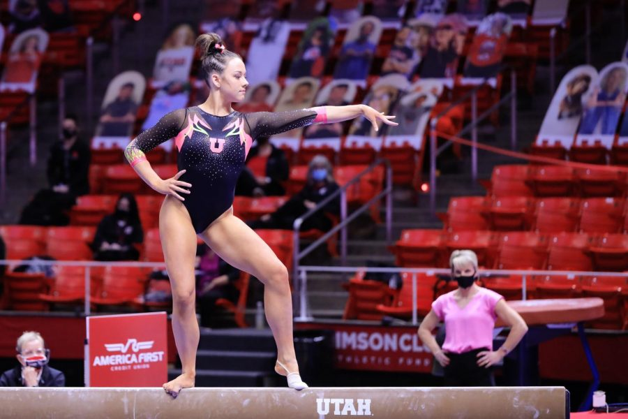 The Utah Red Rocks Gymnast and University of Utah freshman Jaylene Gistrap performs on the floor against the Arizona Wildcats in an NCAA dual meet at Jon M. Huntsman Center in Salt Lake City on 23 Jan 2021. (Photo by Abu Asib | The Daily Utah Chronicle)