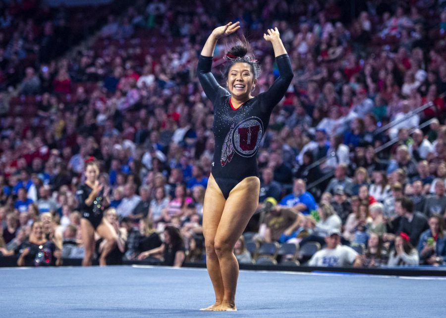 University of Utah women's gymnastics sophomore Cristal Isa performs on the floor in the Deseret dual meet vs. BYU, Utah State, and Southern Utah University at the Maverik Center in Salt Lake City, Utah on Saturday, Jan. 11, 2020. (Photo by Kiffer Creveling | The Daily Utah Chronicle)