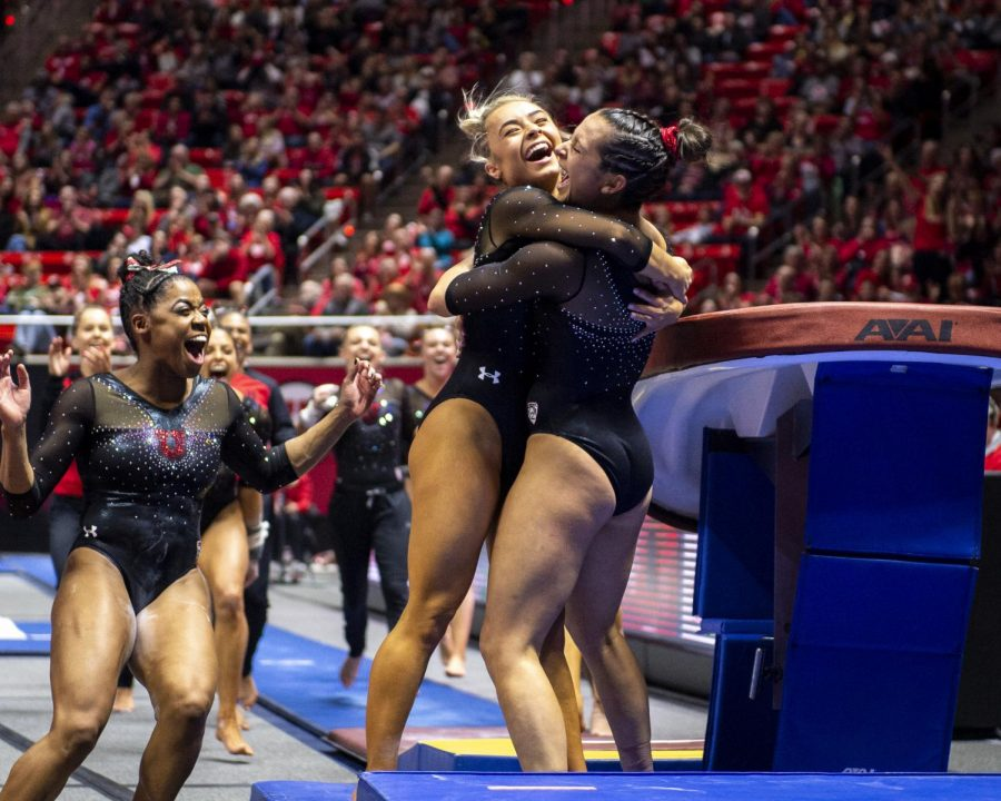 University of Utah women's gymnastics junior Alexia Burch is congratulated by junior Sydney Soloski after her performance on the vault in a dual meet vs. Arizona State at the Jon M. Huntsman Center in Salt Lake City, Utah on Friday, Jan. 24, 2020. (Photo by Kiffer Creveling | The Daily Utah Chronicle)