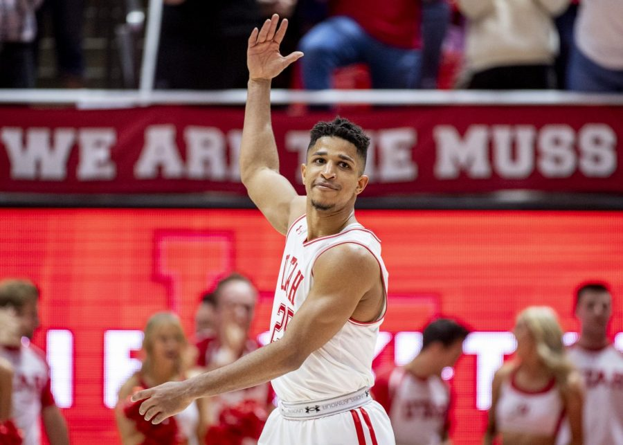 University of Utah junior guard Alfonso Plummer (25) celebrates after a Utah basket during an NCAA Basketball game vs. The University of Colorado at the Jon M. Huntsman Center in Salt Lake City, Utah on Saturday, March 7, 2020. (Photo by Kiffer Creveling | The Daily Utah Chronicle)