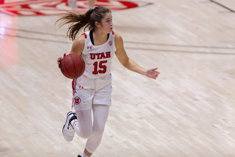 University of Utah women's basketball player, KEMERY MARTÍN (#15), brings the ball down the court in the game against Montana State University on Dec. 11, 2020 in the Jon M. Huntsman Center in Salt Lake City. (Photo by Jack Gambassi | The Daily Utah Chronicle)