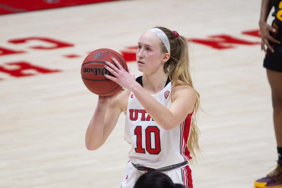 University of Utah womens basketball player, Dru Gylten (#10), at the free throw line in the game against Arizona State University in the Jon M. Huntsman center in Salt Lake City on Dec. 18, 2020. (Photo by Jack Gambassi | The Daily Utah Chronicle)