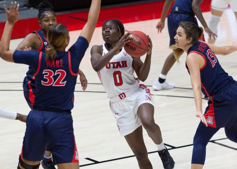 University+of+Utah+women%27s+basketball+player%2C+Donna+Ntambue+%28%230%29%2C+drives+to+the+rim+in+the+game+against+the+University+of+Arizona+in+the+Jon+M.+Huntsman+center+in+Salt+Lake+City+on+Dec.+20%2C+2020.+%28Photo+by+Jack+Gambassi+%7C+The+Daily+Utah+Chronicle%29