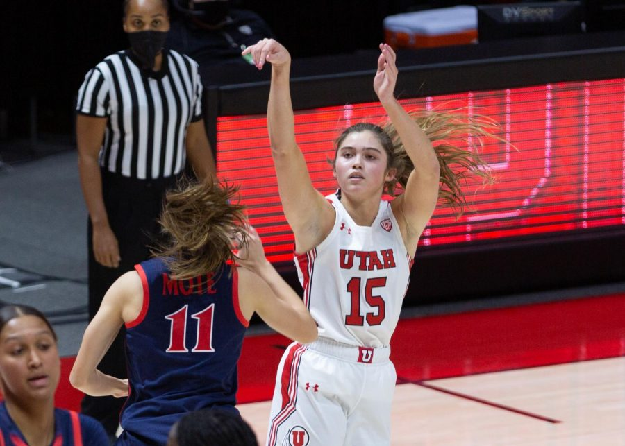 University of Utah women's basketball player, Kemery Martin (#15), takes a shot in the game against the University of Arizona in the Jon M. Huntsman center in Salt Lake City on Dec. 20, 2020. (Photo by Jack Gambassi | The Daily Utah Chronicle)