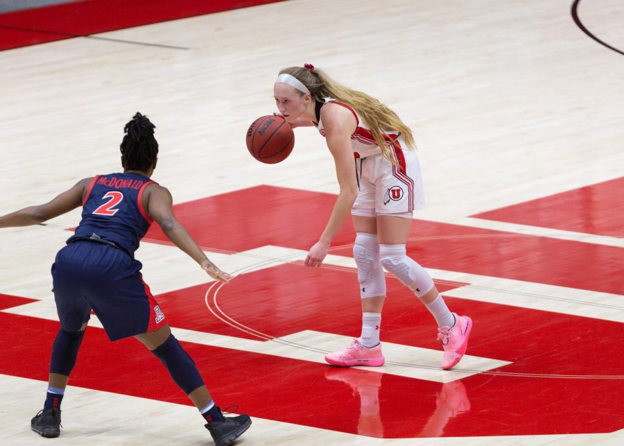 University+of+Utah+women%27s+basketball+player%2C+Dru+Gylten+%28%2310%29%2C+prepares+an+offensive+play+in+the+game+against+the+University+of+Arizona+in+the+Jon+M.+Huntsman+center+in+Salt+Lake+City+on+Dec.+20%2C+2020.+%28Photo+by+Jack+Gambassi+%7C+The+Daily+Utah+Chronicle%29