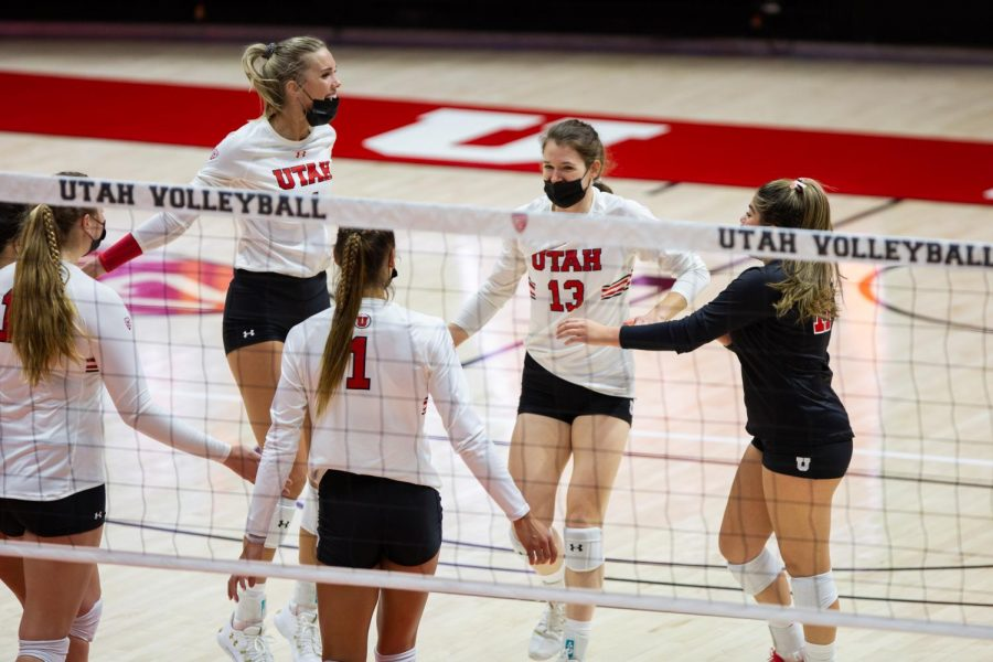 The U of U Volleyball team beat the Arizona Wildcats in three straight sets during the match on Jan 24, 2021 at the Jon M. Huntsman Center on campus. (Photo by Jack Gambassi | The Daily Utah Chronicle)