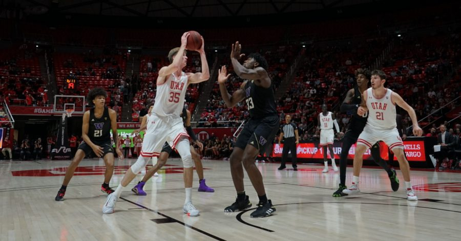 University of Utah freshman center Branden Carlson (35) shoots the ball during an NCAA Basketball game vs. University of Washington at the Jon M. Huntsman Center in Salt Lake City, Utah on Thursday, Jan. 23, 2020. (Photo by Jalen Pace | The Daily Utah Chronicle)