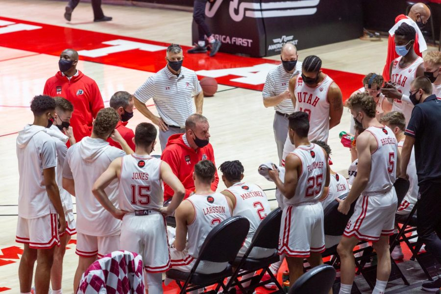 University of Utah Head Coach Larry Krystkowiak walks his team through a play during an NCAA Basketball game vs. the Stanford Cardinals at the Jon M. Huntsman Center in Salt Lake City, Utah on Thursday, Jan. 14, 2021. (Photo by Kevin Cody | The Daily Utah Chronicle)