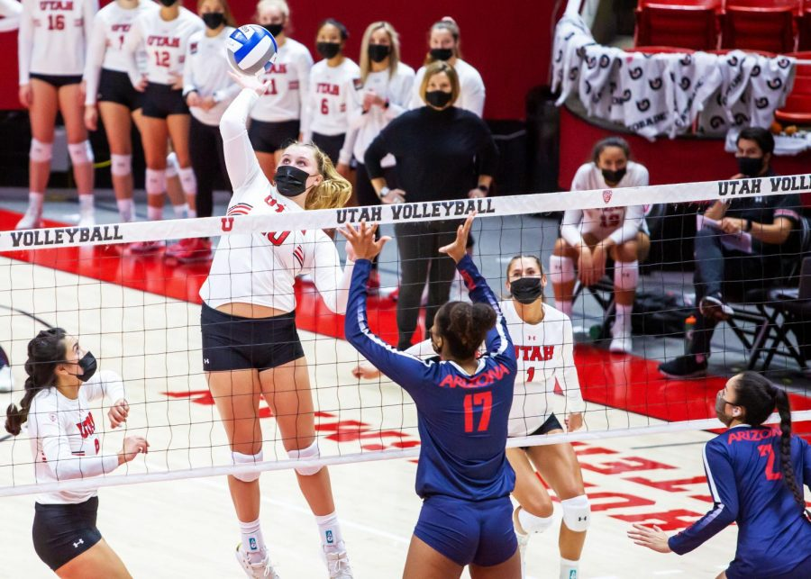 University of Utah redshirt sophmore Kennedi Evans (10) in a NCAA Women's Volleyball  game vs. the Arizona Wildcats at the Jon M. Huntsman Center in Salt Lake City, Utah on Friday, Jan. 22, 2021. (Photo by Kevin Cody | The Daily Utah Chronicle)