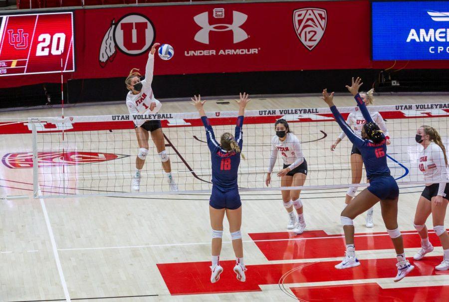 University of Utah senior Dani Drews (1) in a NCAA Women's Volleyball game vs. the Arizona Wildcats at the Jon M. Huntsman Center in Salt Lake City, Utah on Friday, Jan. 22, 2021. (Photo by Kevin Cody | The Daily Utah Chronicle)