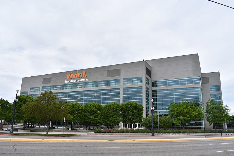 The Vivint Smart Home Arena (1991) in Salt Lake City, also known as Delta Center and as Energy Solutions Arena, is a sports and entertainment venue. (Image via WikiMedia Commons)