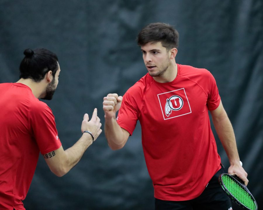 Utah Mens' Tennis players Gernonimo Busleiman and Franco Capalbo celebrate their win in doubles during an NCAA dual meet against the Idaho State Bengals at the George Eccles Tennis Center in Salt Lake City on Jan 30, 2021 (Abu Asib | The Daily Utah Chronicle)