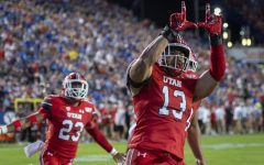 University of Utah senior linebacker Francis Bernard (13) celebrates after a touchdown from making an interception vs. Brigham Young University during an NCAA Football game at LaVell Edwards Stadium in Provo, Utah on Thursday, Aug. 29, 2019. (Photo by Kiffer Creveling | The Daily Utah Chronicle)
